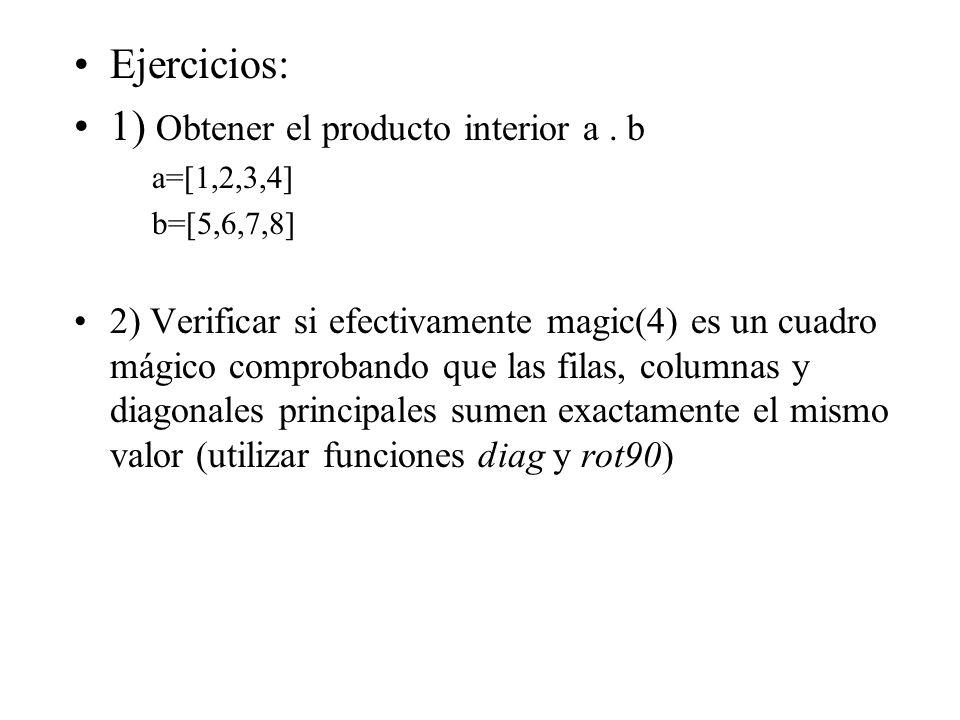 Ejercicios: 1) Obtener el producto interior a. b a=[1,2,3,4] b=[5,6,7,8] 2) Verificar si efectivamente magic(4) es un cuadro mágico comprobando que la