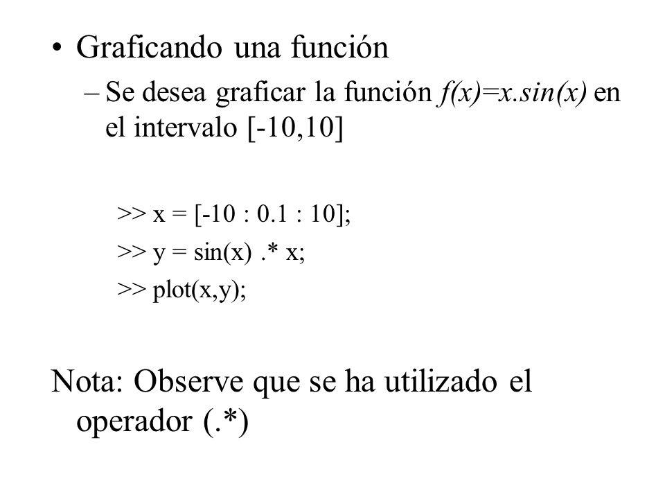 Graficando una función –Se desea graficar la función f(x)=x.sin(x) en el intervalo [-10,10] >> x = [-10 : 0.1 : 10]; >> y = sin(x).* x; >> plot(x,y); Nota: Observe que se ha utilizado el operador (.*)