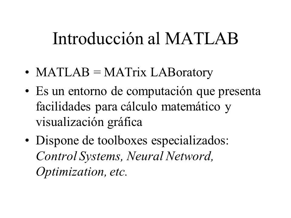 Introducción al MATLAB MATLAB = MATrix LABoratory Es un entorno de computación que presenta facilidades para cálculo matemático y visualización gráfic