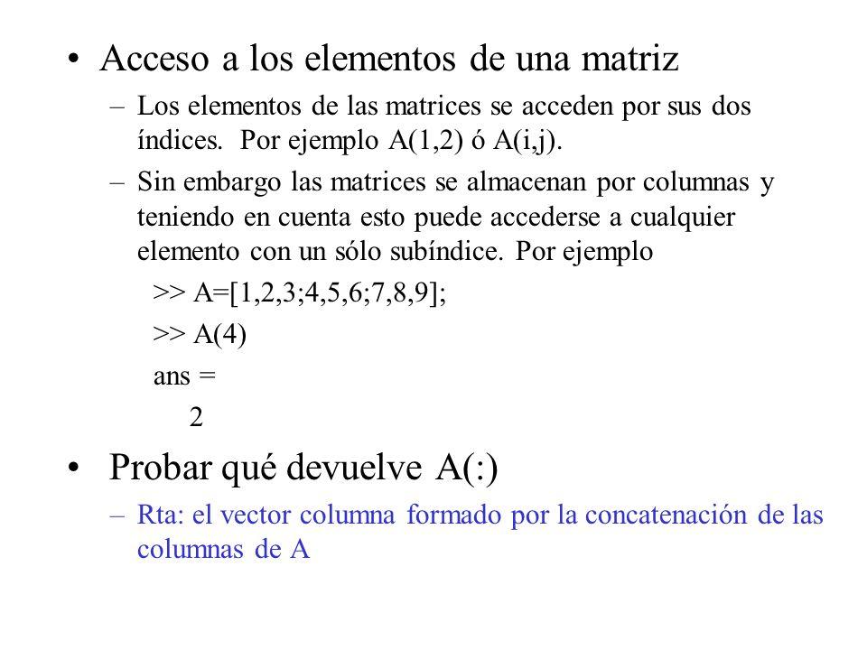 Acceso a los elementos de una matriz –Los elementos de las matrices se acceden por sus dos índices. Por ejemplo A(1,2) ó A(i,j). –Sin embargo las matr