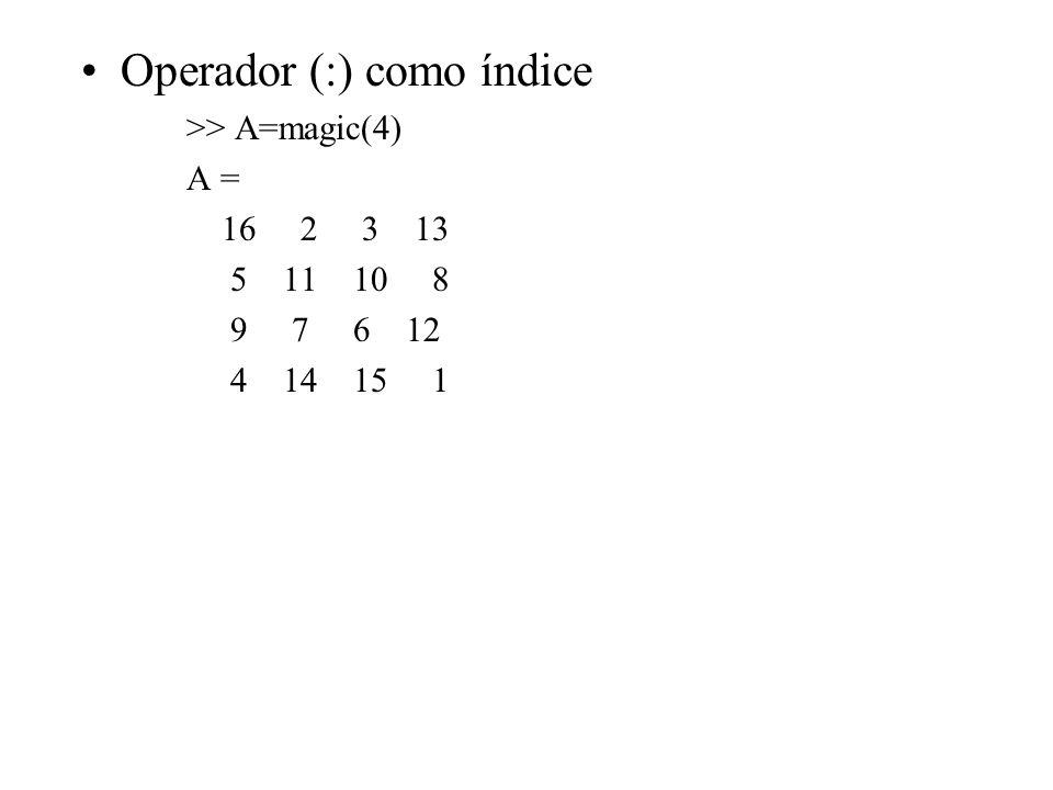 Operador (:) como índice >> A=magic(4) A = 16 2 3 13 5 11 10 8 9 7 6 12 4 14 15 1