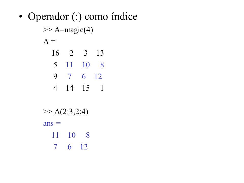 Operador (:) como índice >> A=magic(4) A = 16 2 3 13 5 11 10 8 9 7 6 12 4 14 15 1 >> A(2:3,2:4) ans = 11 10 8 7 6 12