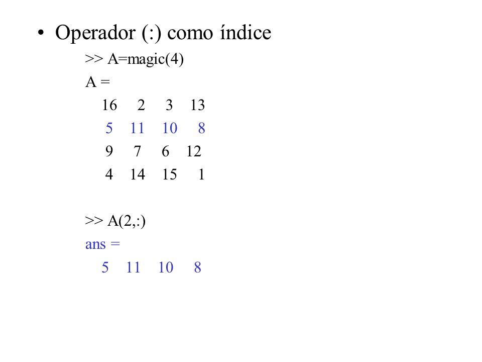 Operador (:) como índice >> A=magic(4) A = 16 2 3 13 5 11 10 8 9 7 6 12 4 14 15 1 >> A(2,:) ans = 5 11 10 8