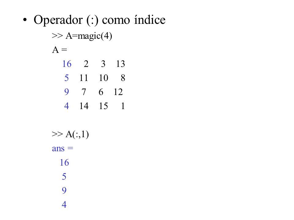 Operador (:) como índice >> A=magic(4) A = 16 2 3 13 5 11 10 8 9 7 6 12 4 14 15 1 >> A(:,1) ans = 16 5 9 4