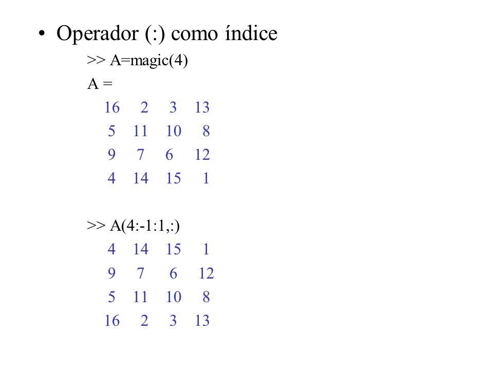 Operador (:) como índice >> A=magic(4) A = 16 2 3 13 5 11 10 8 9 7 6 12 4 14 15 1 >> A(4:-1:1,:) 4 14 15 1 9 7 6 12 5 11 10 8 16 2 3 13