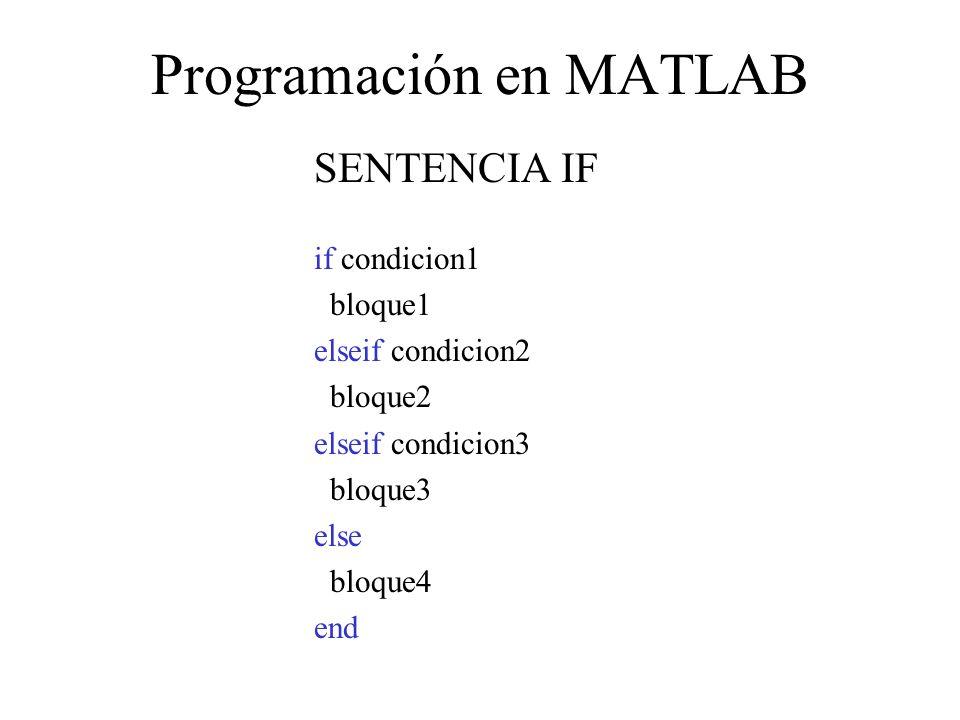 Programación en MATLAB SENTENCIA IF if condicion1 bloque1 elseif condicion2 bloque2 elseif condicion3 bloque3 else bloque4 end