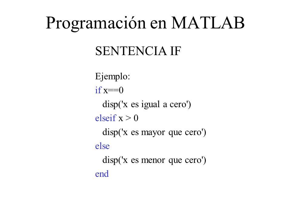 Programación en MATLAB SENTENCIA IF Ejemplo: if x==0 disp( x es igual a cero ) elseif x > 0 disp( x es mayor que cero ) else disp( x es menor que cero ) end