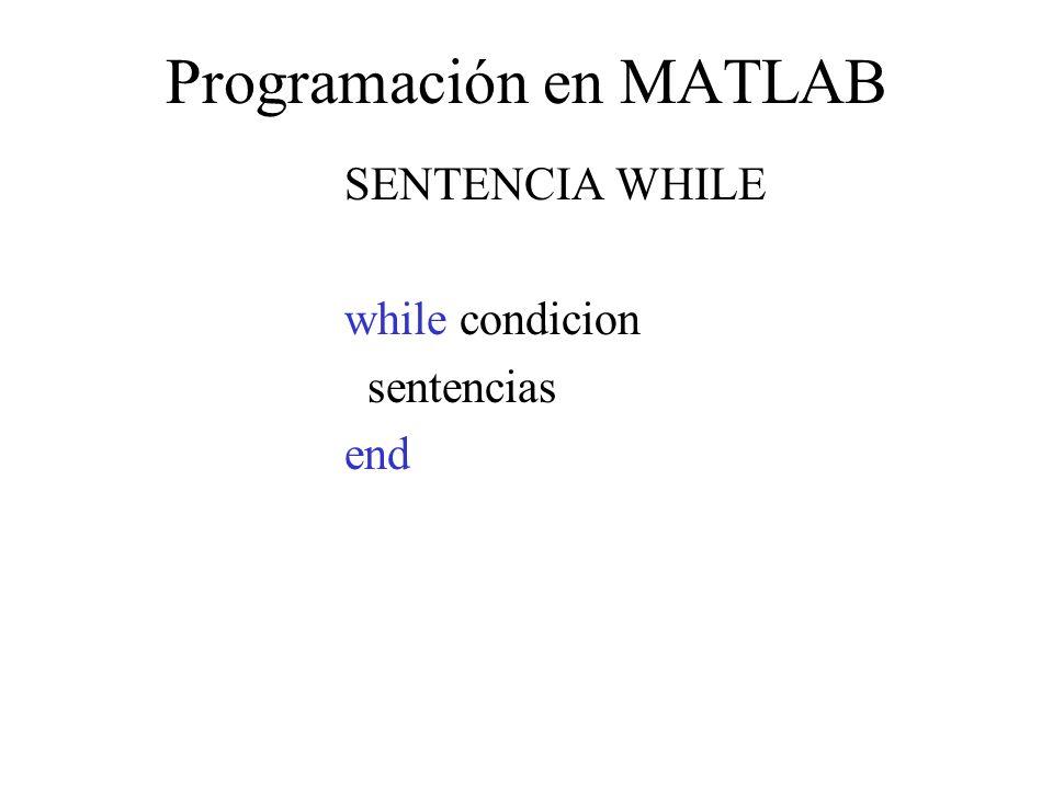Programación en MATLAB SENTENCIA WHILE while condicion sentencias end