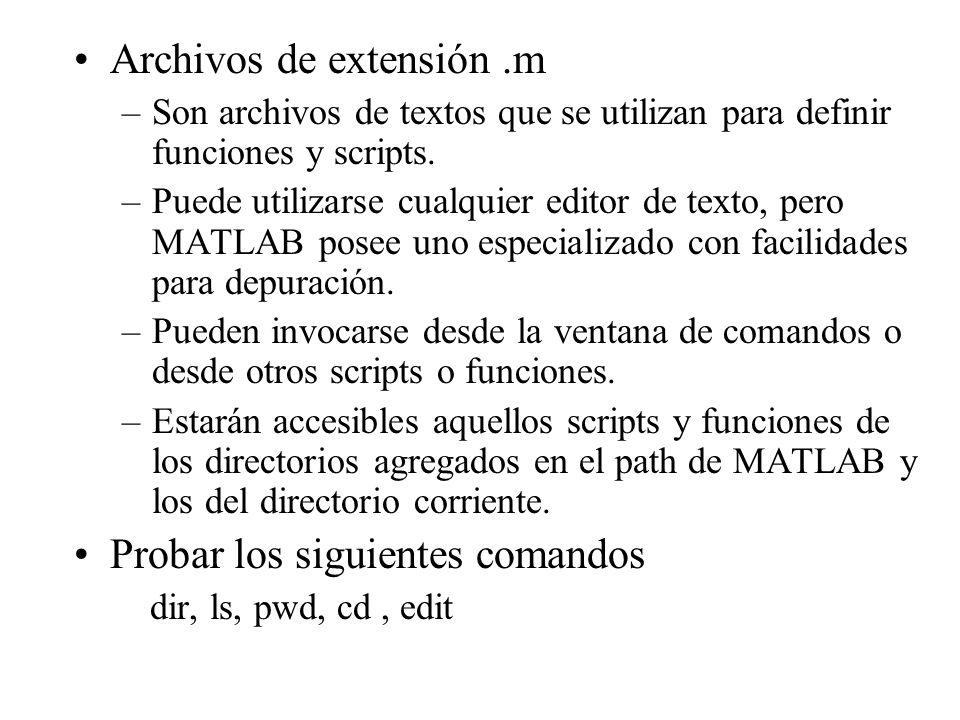 Archivos de extensión.m –Son archivos de textos que se utilizan para definir funciones y scripts. –Puede utilizarse cualquier editor de texto, pero MA
