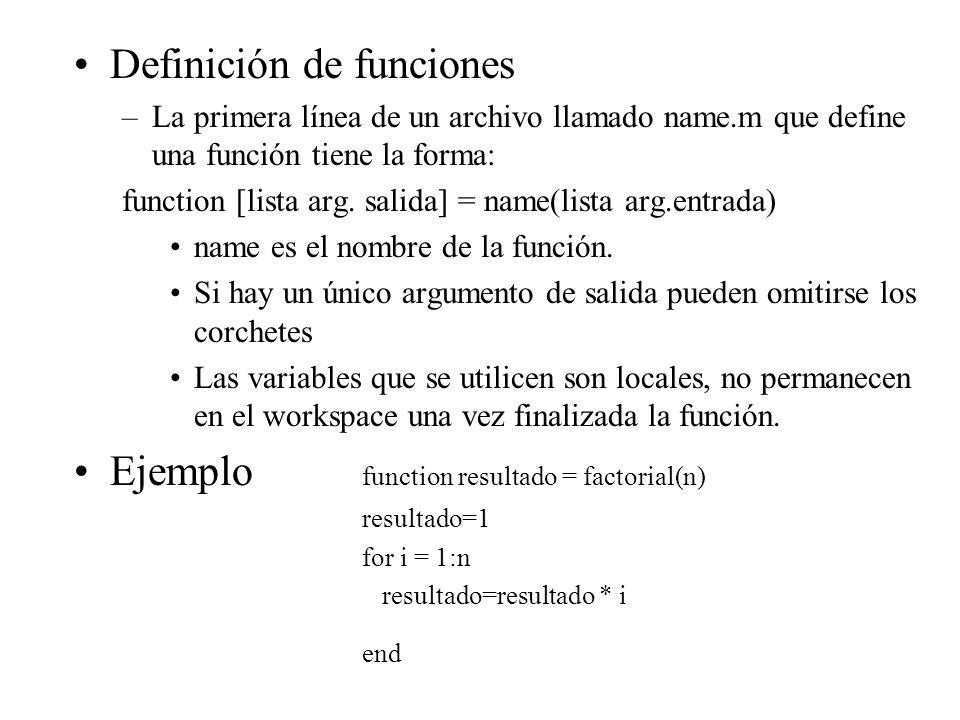Definición de funciones –La primera línea de un archivo llamado name.m que define una función tiene la forma: function [lista arg.