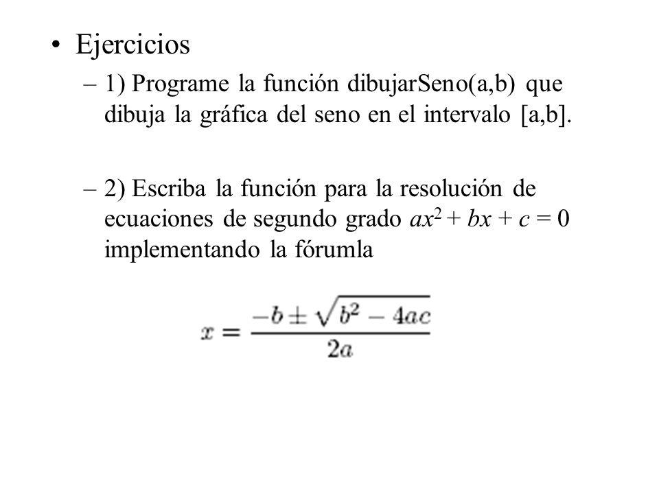 Ejercicios –1) Programe la función dibujarSeno(a,b) que dibuja la gráfica del seno en el intervalo [a,b]. –2) Escriba la función para la resolución de