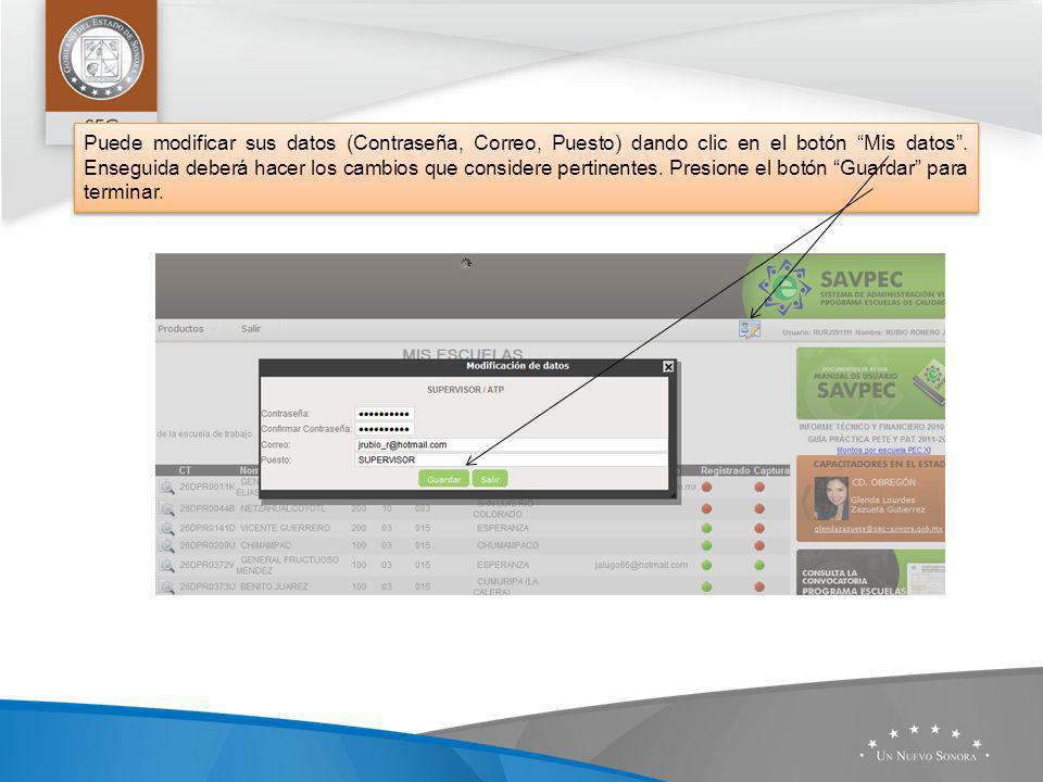 Puede modificar sus datos (Contraseña, Correo, Puesto) dando clic en el botón Mis datos.