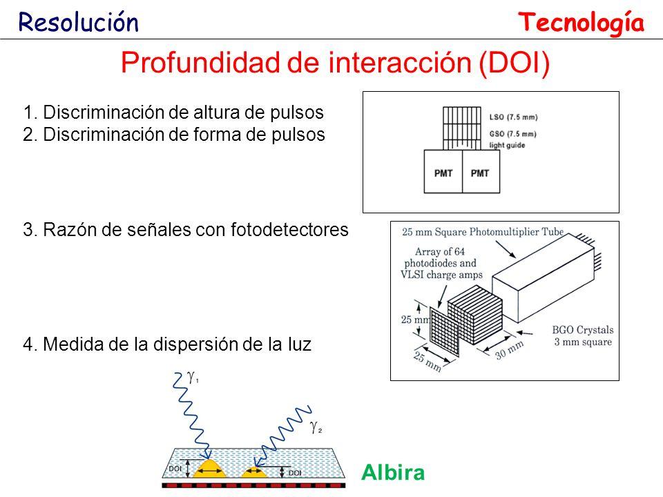 1. Discriminación de altura de pulsos 2. Discriminación de forma de pulsos 3. Razón de señales con fotodetectores Profundidad de interacción (DOI) Res