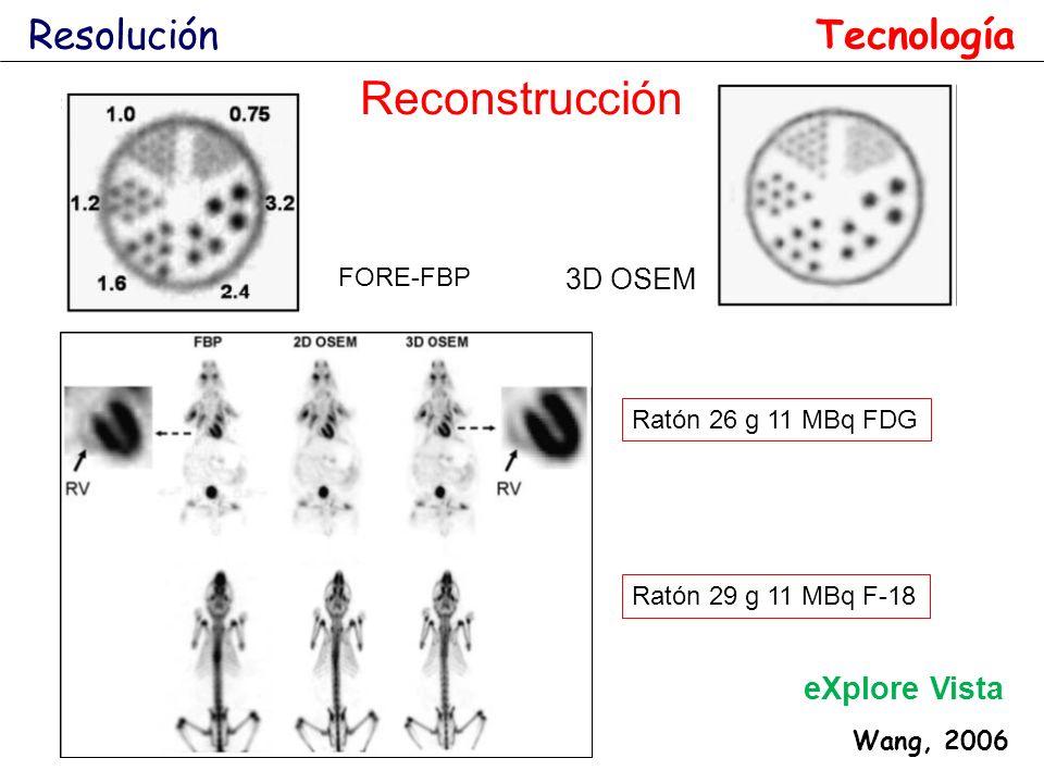 Resolución Wang, 2006 eXplore Vista Ratón 26 g 11 MBq FDG Ratón 29 g 11 MBq F-18 FORE-FBP 3D OSEM Reconstrucción Tecnología