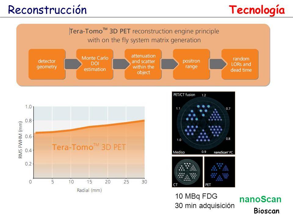 Reconstrucción Tecnología 10 MBq FDG 30 min adquisición Bioscan nanoScan