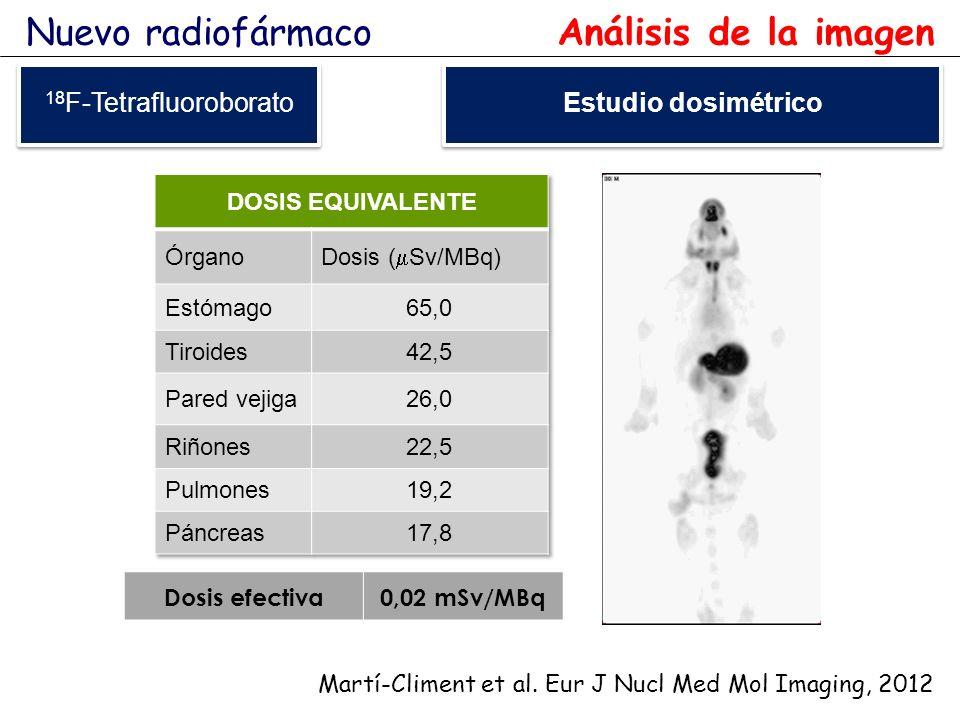 Dosis efectiva0,02 mSv/MBq 18 F-Tetrafluoroborato Martí-Climent et al. Eur J Nucl Med Mol Imaging, 2012 Nuevo radiofármaco Análisis de la imagen Estud