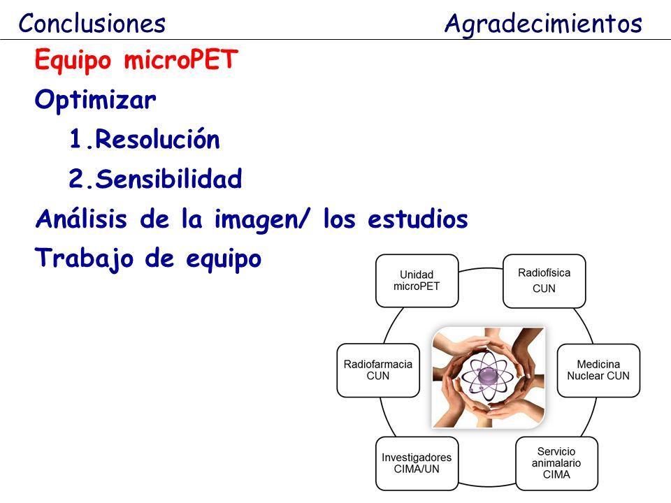 Conclusiones Agradecimientos Equipo microPET Optimizar 1.Resolución 2.Sensibilidad Análisis de la imagen/ los estudios Trabajo de equipo