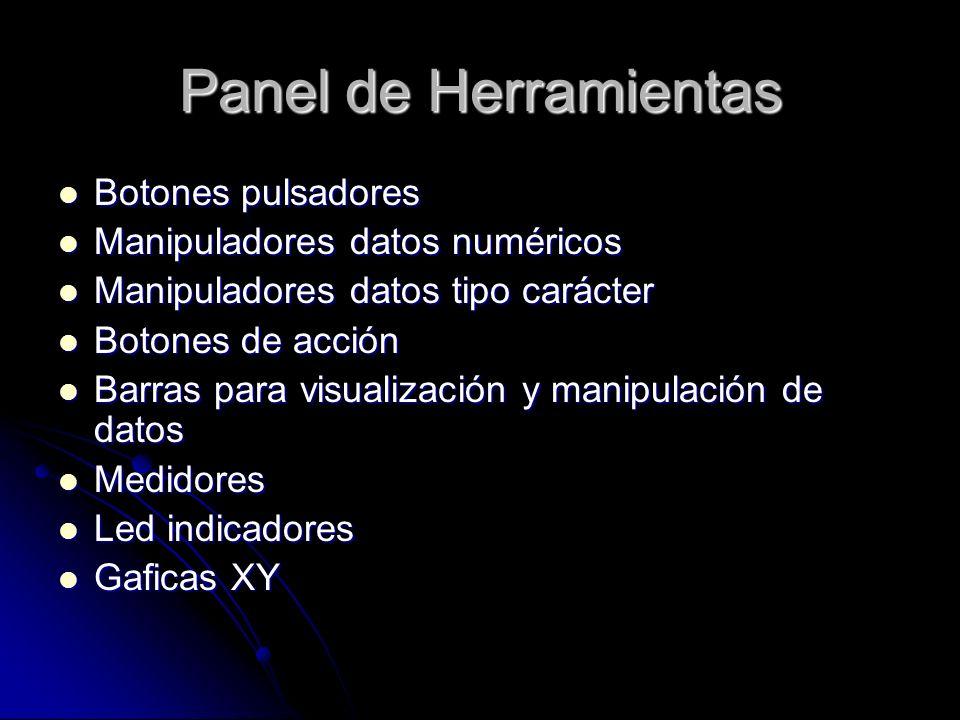 Panel de Herramientas Botones pulsadores Botones pulsadores Manipuladores datos numéricos Manipuladores datos numéricos Manipuladores datos tipo carác