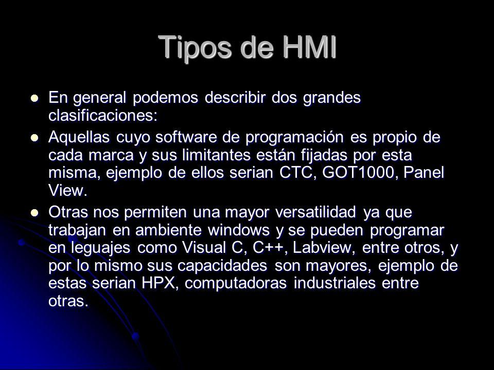 Tipos de HMI En general podemos describir dos grandes clasificaciones: En general podemos describir dos grandes clasificaciones: Aquellas cuyo softwar