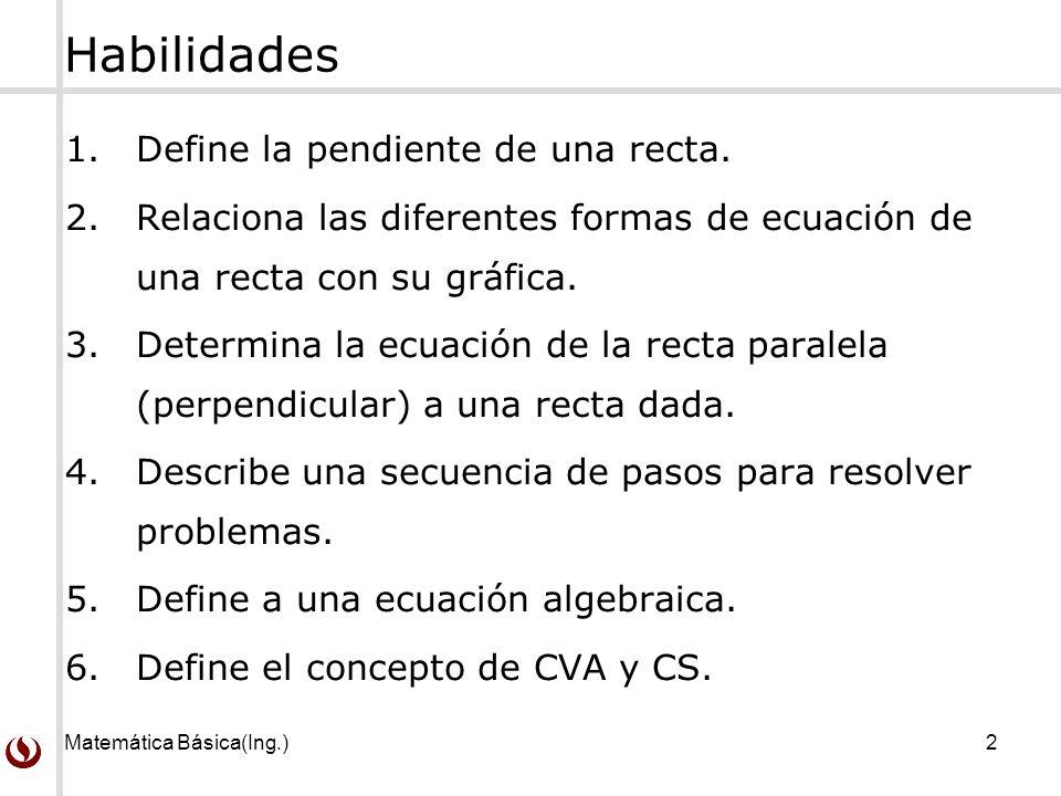Matemática Básica(Ing.)2 Habilidades 1.Define la pendiente de una recta.