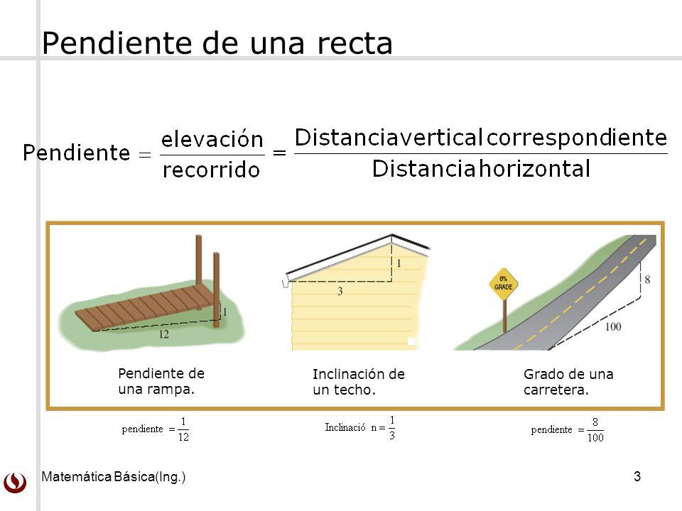 Matemática Básica(Ing.)3 Pendiente de una recta Pendiente de una rampa.
