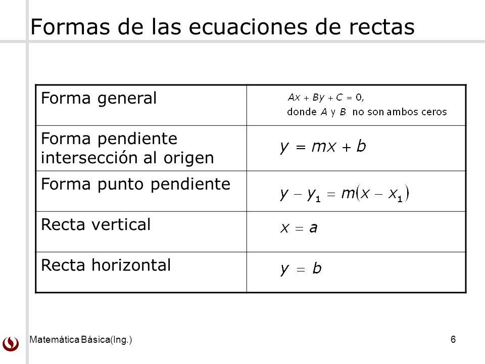 Matemática Básica(Ing.)6 Formas de las ecuaciones de rectas Forma general Forma pendiente intersección al origen Forma punto pendiente Recta vertical Recta horizontal