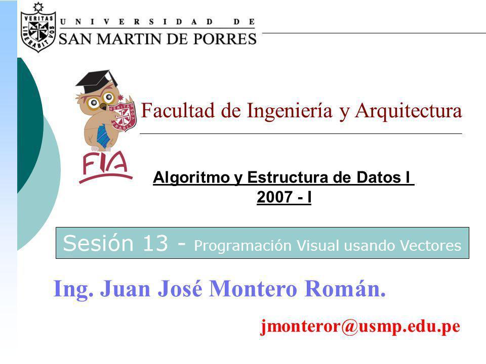 Algoritmo y Estructura de Datos I 2007 - I Facultad de Ingeniería y Arquitectura Ing.
