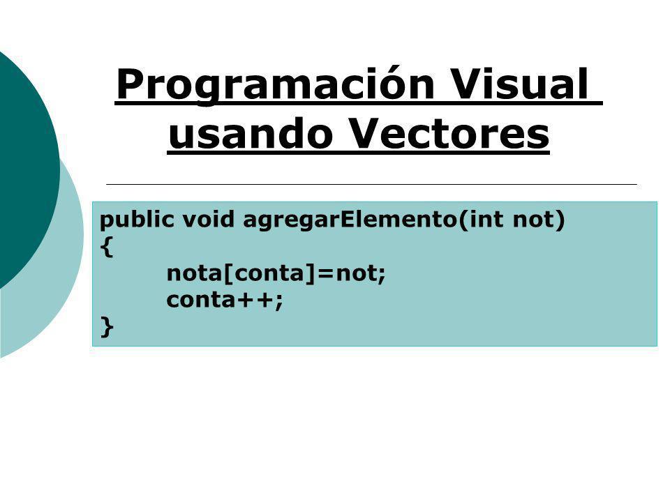 Programación Visual usando Vectores public void agregarElemento(int not) { nota[conta]=not; conta++; }