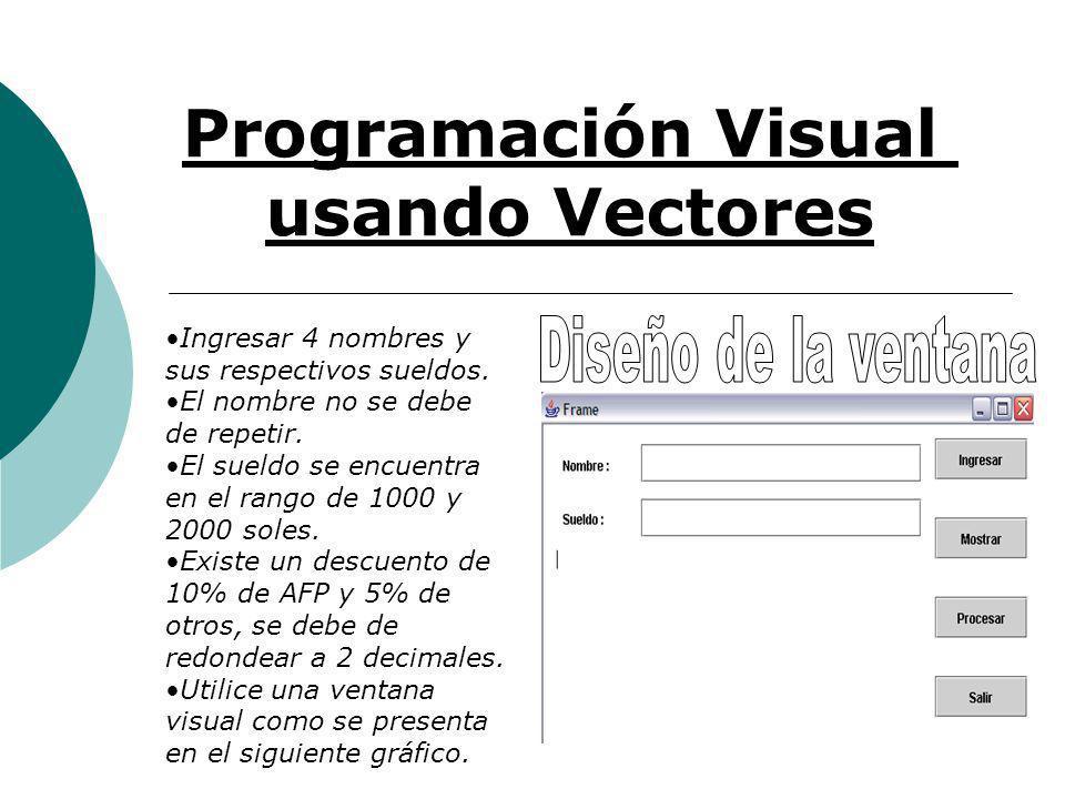 Programación Visual usando Vectores Ingresar 4 nombres y sus respectivos sueldos.