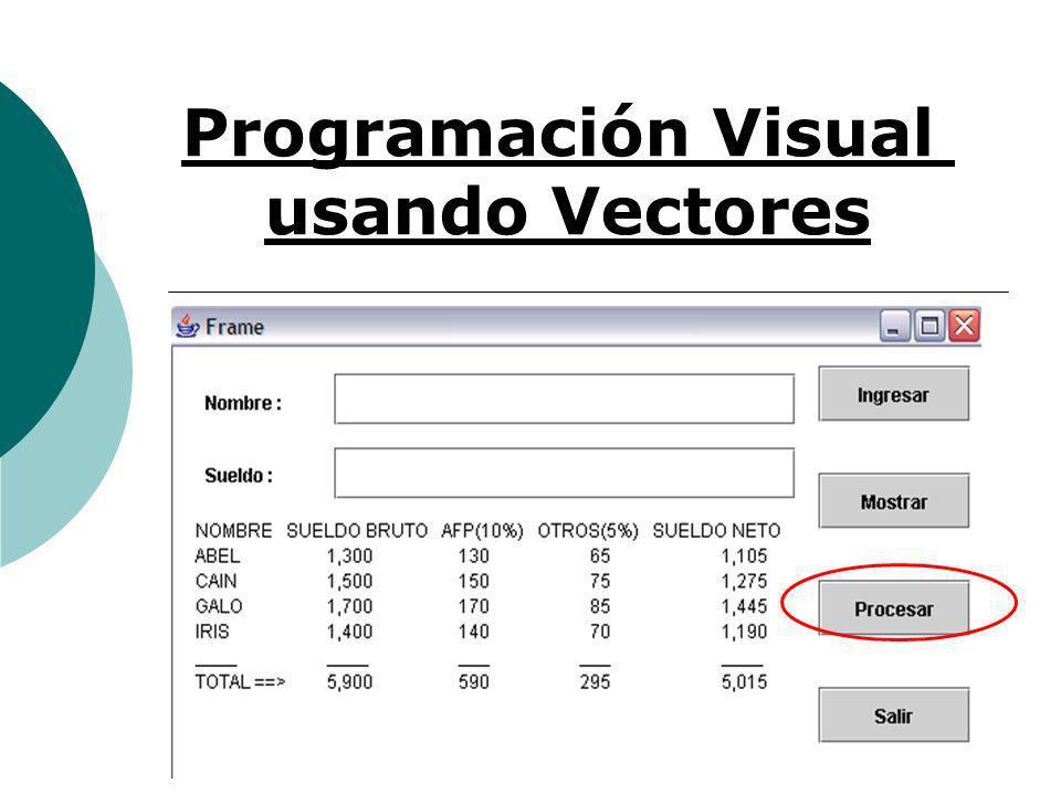 Programación Visual usando Vectores