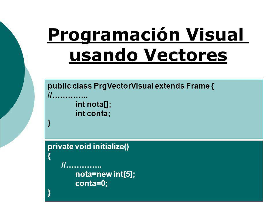 Programación Visual usando Vectores public class PrgVectorVisual extends Frame { //………….. int nota[]; int conta; } private void initialize() { //………….