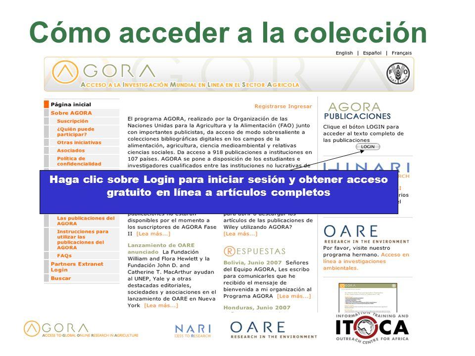 Cómo acceder a la colección Haga clic sobre Login para iniciar sesión y obtener acceso gratuito en línea a artículos completos