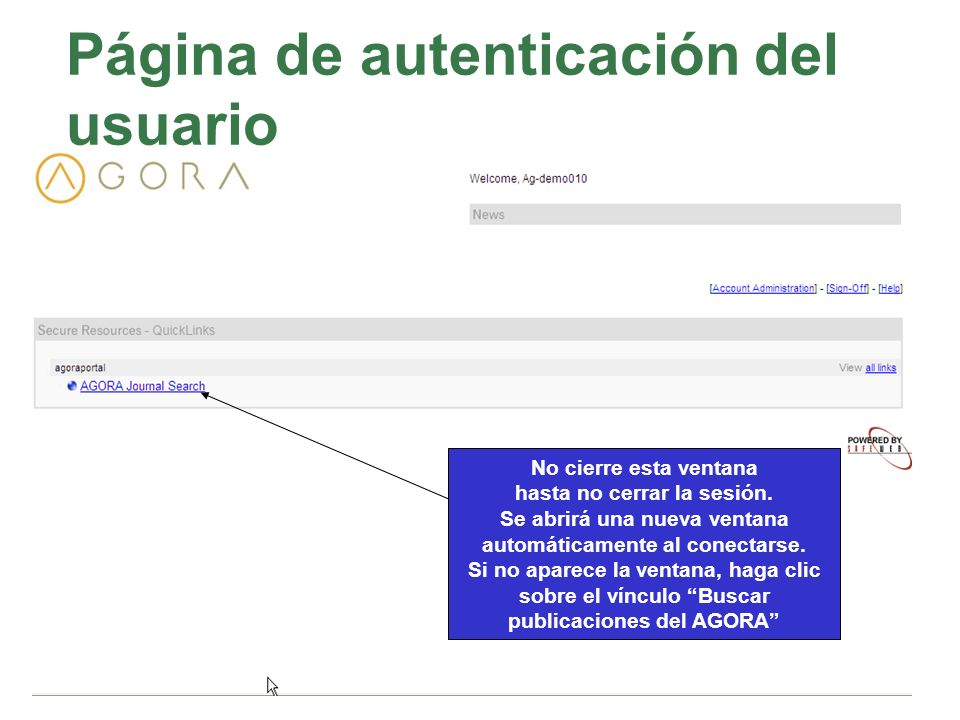 Página de autenticación del usuario No cierre esta ventana hasta no cerrar la sesión. Se abrirá una nueva ventana automáticamente al conectarse. Si no