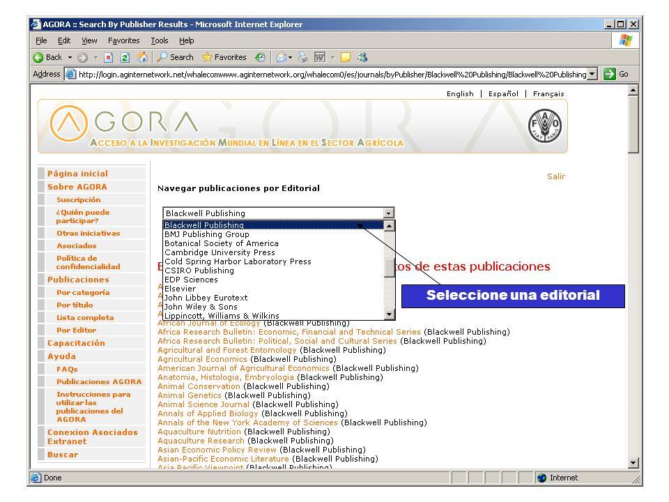 Títulos por editorial Seleccione una editorial
