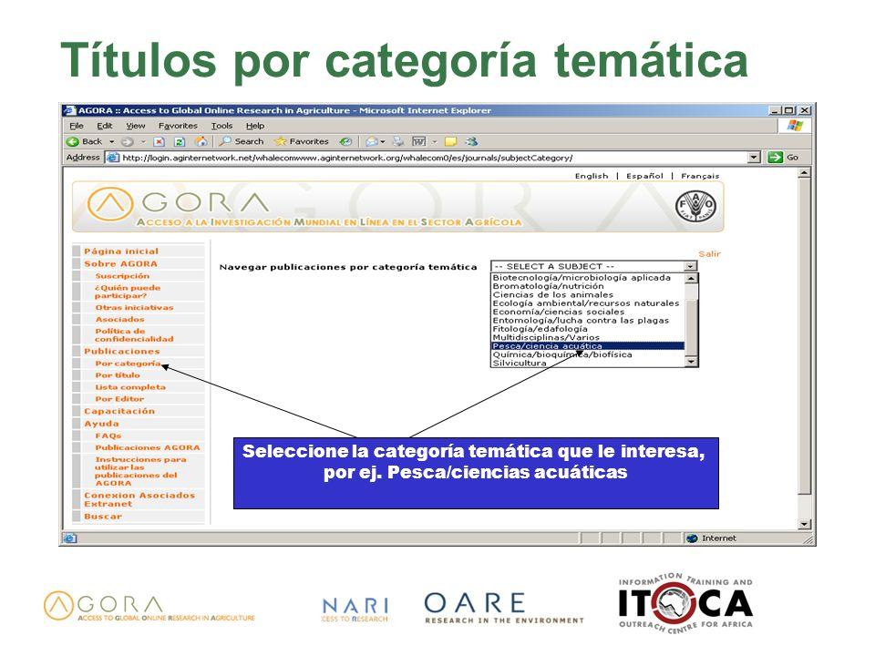 Títulos por categoría temática Seleccione la categoría temática que le interesa, por ej. Pesca/ciencias acuáticas