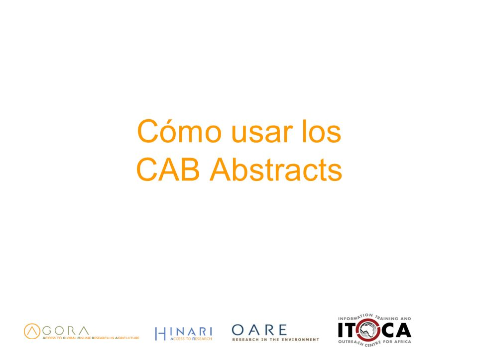 Cómo usar los CAB Abstracts