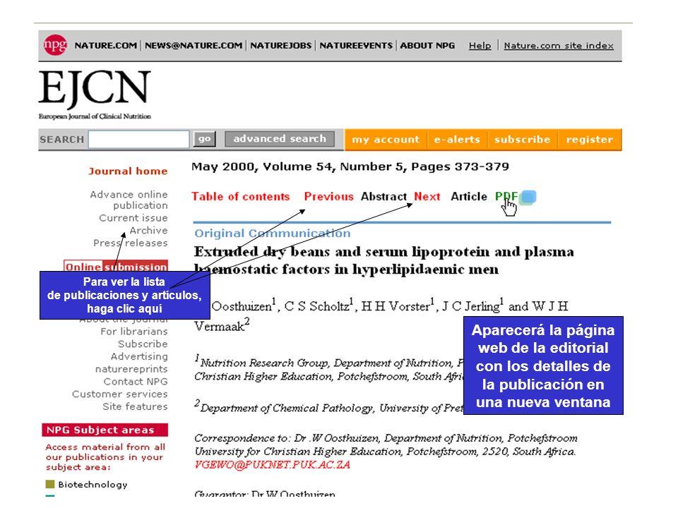 CAB Abstracts Aparecerá la página web de la editorial con los detalles de la publicación en una nueva ventana Para ver la lista de publicaciones y art