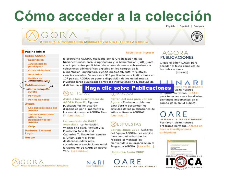 Cómo acceder a la colección Haga clic sobre Publicaciones