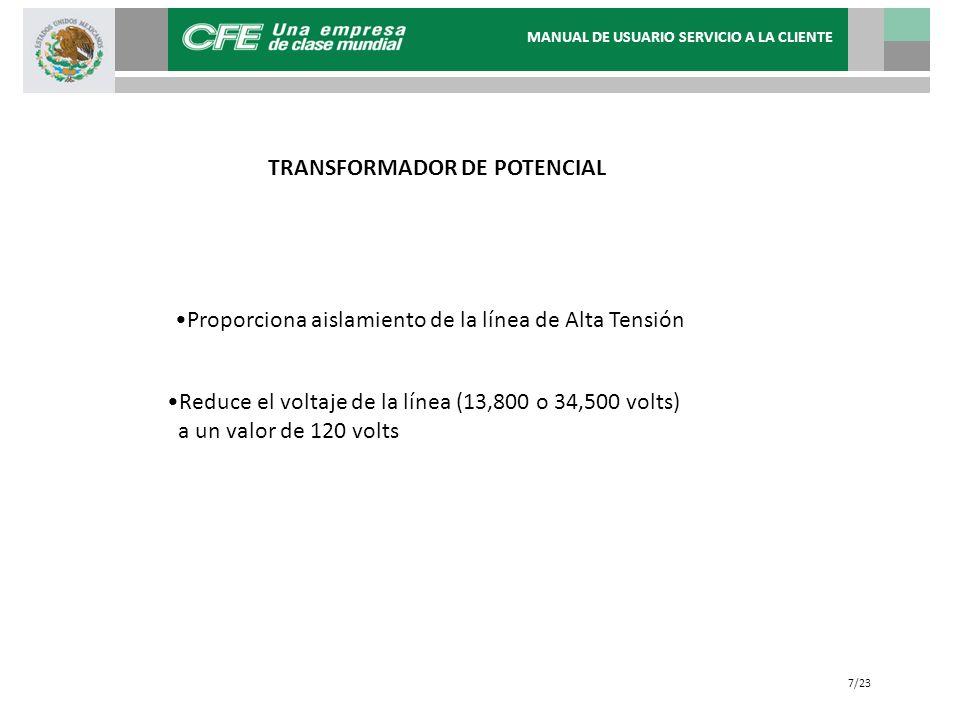 TRANSFORMADOR DE POTENCIAL Proporciona aislamiento de la línea de Alta Tensión Reduce el voltaje de la línea (13,800 o 34,500 volts) a un valor de 120