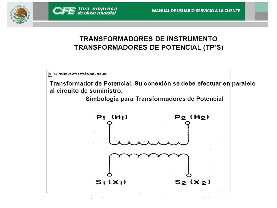Transformador de Potencial. Su conexión se debe efectuar en paralelo al circuito de suministro. Simbología para Transformadores de Potencial TRANSFORM