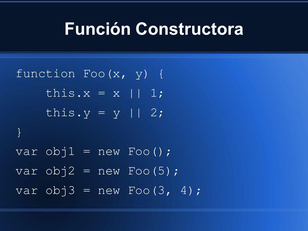 Función Constructora function Foo(x, y) { this.x = x || 1; this.y = y || 2; } var obj1 = new Foo(); var obj2 = new Foo(5); var obj3 = new Foo(3, 4);