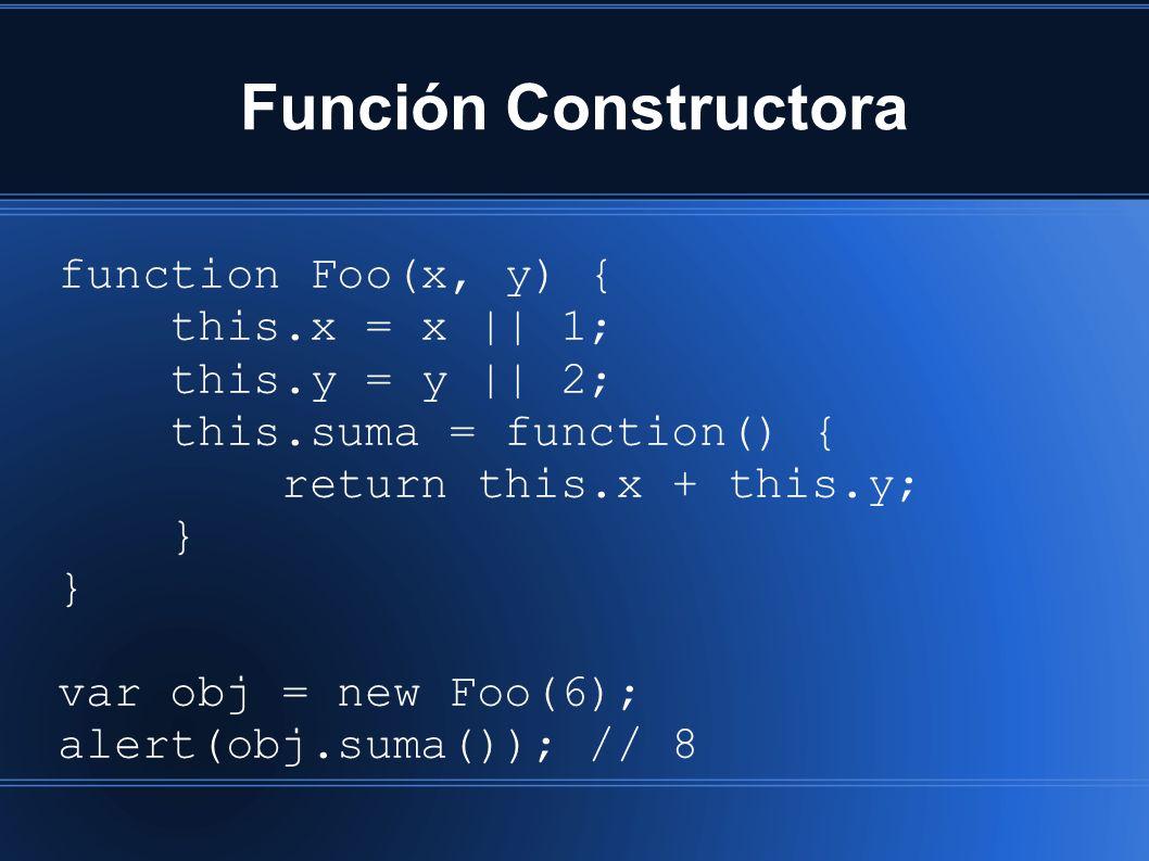 Función Constructora function Foo(x, y) { this.x = x || 1; this.y = y || 2; this.suma = function() { return this.x + this.y; } var obj = new Foo(6); alert(obj.suma()); // 8