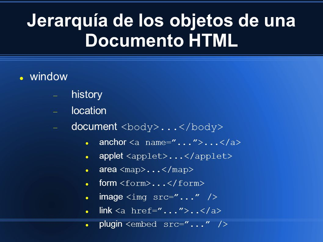 Jerarquía de los objetos de una Documento HTML window history location document...