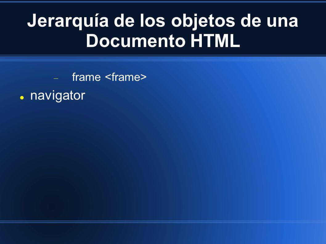 Jerarquía de los objetos de una Documento HTML frame navigator