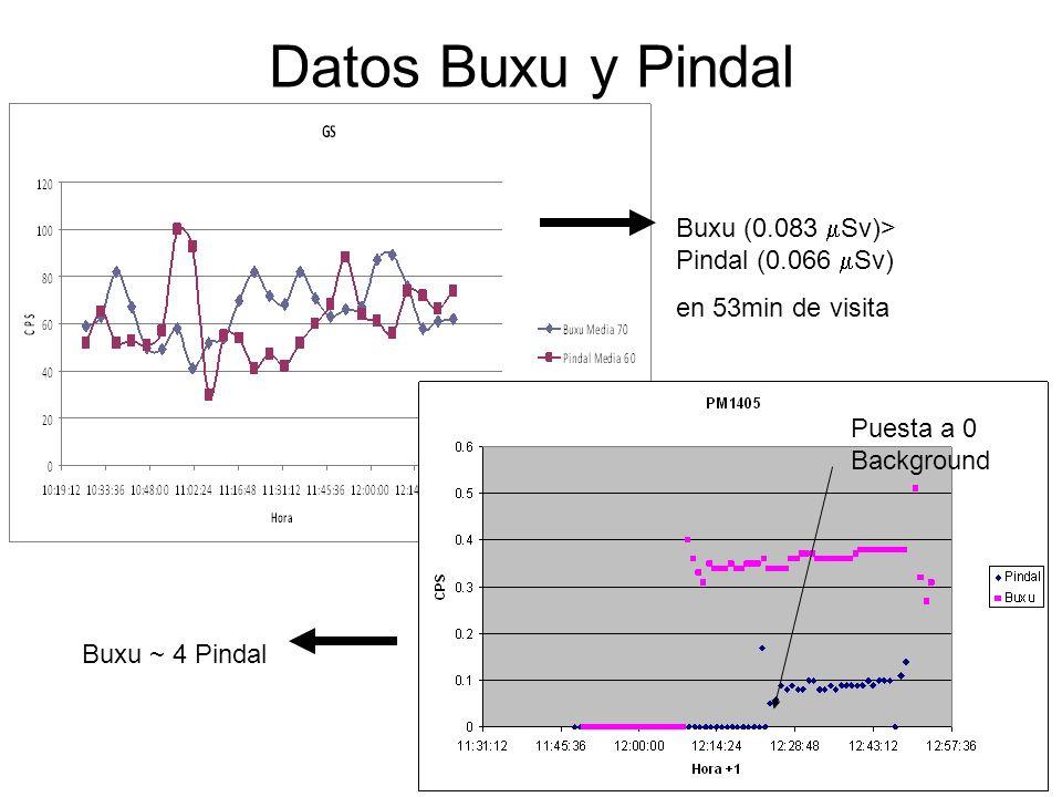 12 Datos Buxu y Pindal Puesta a 0 Background Buxu (0.083 Sv)> Pindal (0.066 Sv) en 53min de visita Buxu ~ 4 Pindal