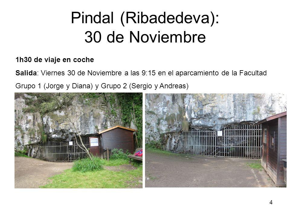 4 Pindal (Ribadedeva): 30 de Noviembre 1h30 de viaje en coche Salida: Viernes 30 de Noviembre a las 9:15 en el aparcamiento de la Facultad Grupo 1 (Jorge y Diana) y Grupo 2 (Sergio y Andreas)