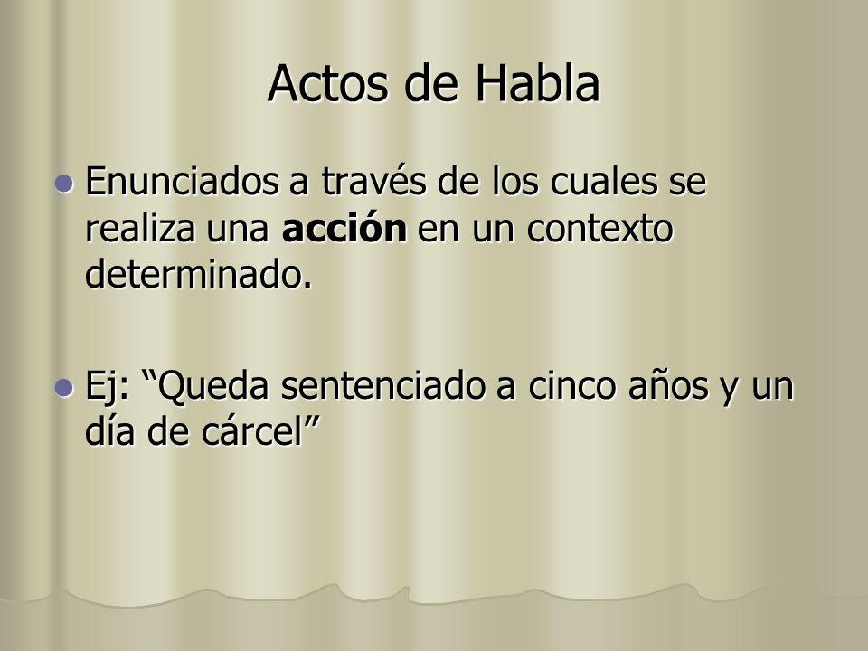 Actos de Habla Enunciados a través de los cuales se realiza una acción en un contexto determinado. Enunciados a través de los cuales se realiza una ac