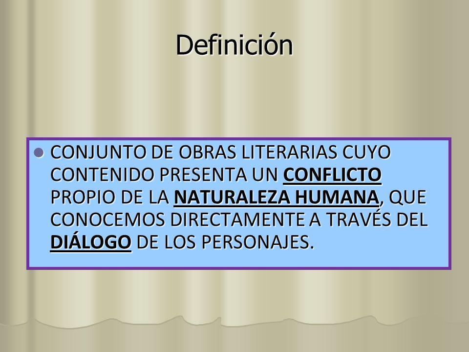 Definición CONJUNTO DE OBRAS LITERARIAS CUYO CONTENIDO PRESENTA UN CONFLICTO PROPIO DE LA NATURALEZA HUMANA, QUE CONOCEMOS DIRECTAMENTE A TRAVÉS DEL D