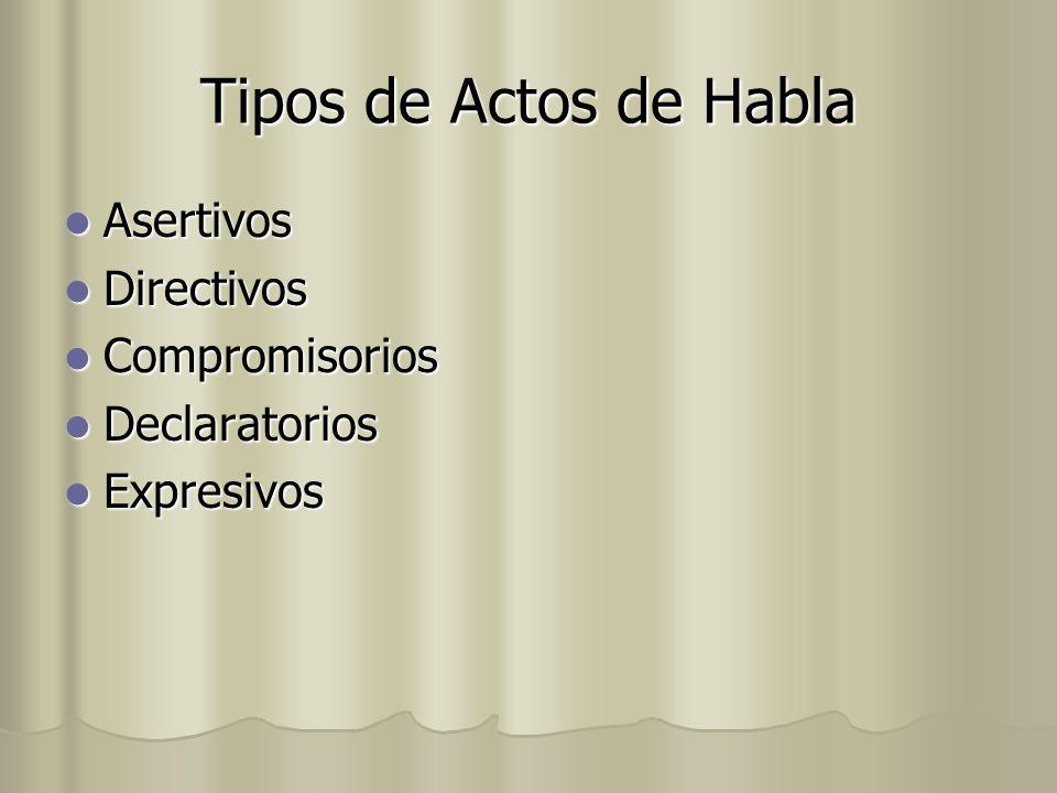 Tipos de Actos de Habla Asertivos Asertivos Directivos Directivos Compromisorios Compromisorios Declaratorios Declaratorios Expresivos Expresivos