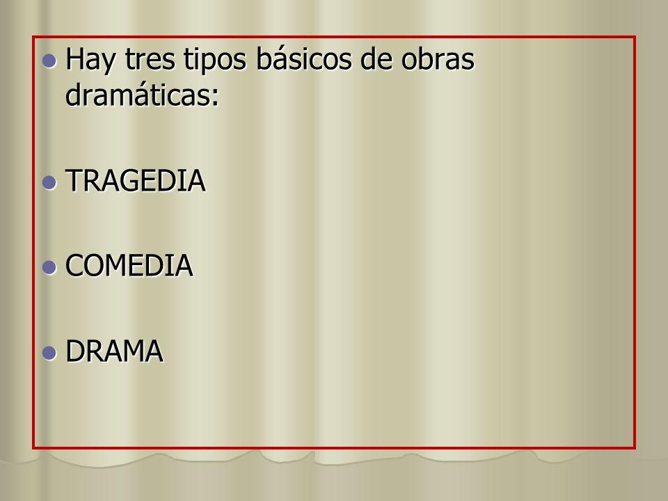 Hay tres tipos básicos de obras dramáticas: Hay tres tipos básicos de obras dramáticas: TRAGEDIA TRAGEDIA COMEDIA COMEDIA DRAMA DRAMA